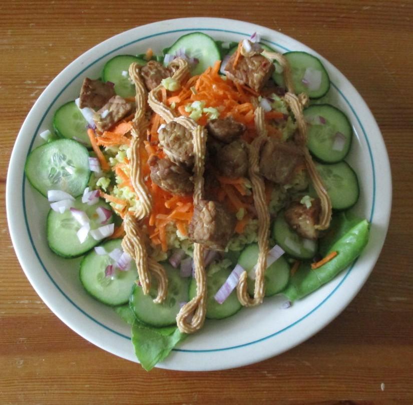 rijstsalade met tempeh en sojasaus suikervrij vegan veganistisch e-nummervrij