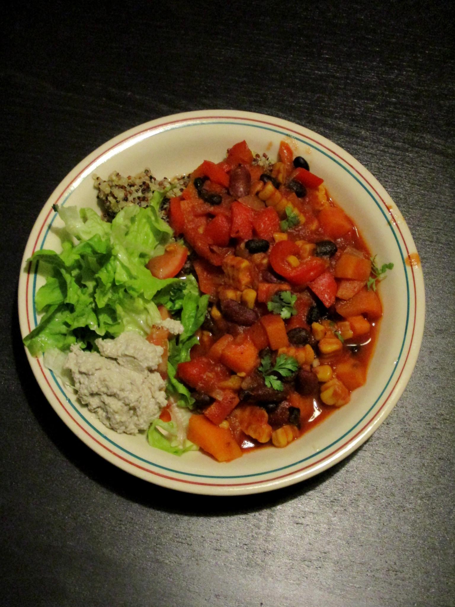 chili sin carne suikervrij vegan veganistisch lactosevrij glutenvrij