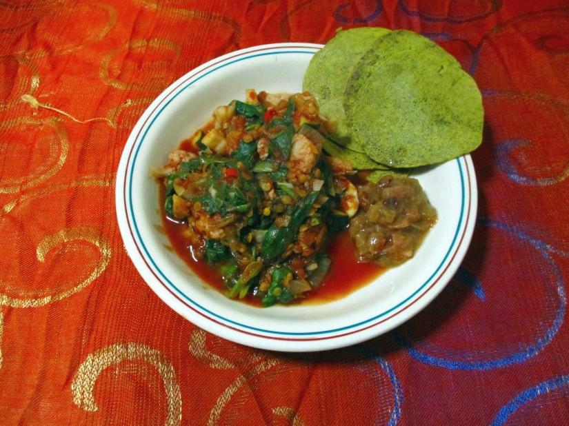 spinaziecurry vegan veganistisch glutenvrije pannenkoek