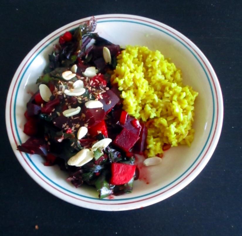 curry met bietenblad snijbiet vegan veganistisch sojavrij