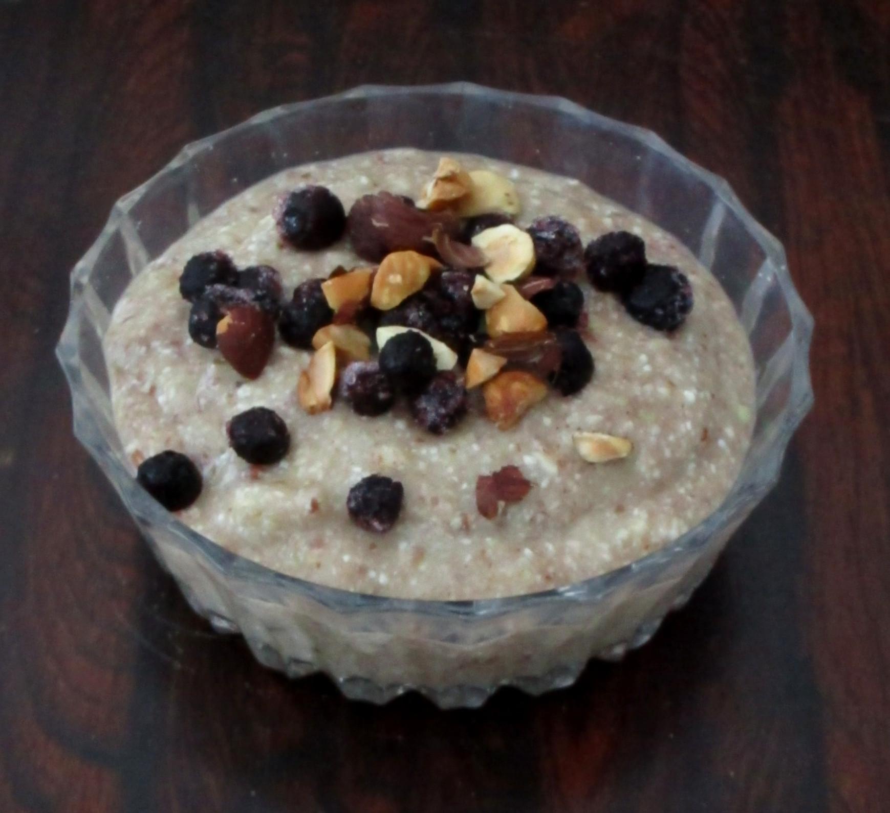 boekweitpap ontbijt met blauwe bessen glutenvrij suikervrij vegan veganistisch e-nummervrij meukvrij sojavrij lactosevrij